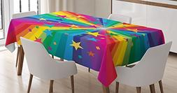 Ambesonne Abstract Home Decor Tablecloth, Abstract Rainbow a