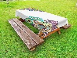 Abstract Outdoor Picnic Tablecloth Colored Rectangle Form Pr