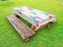 Abstract Outdoor Picnic Tablecloth Memphis Style Forms Print