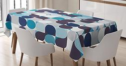 Ambesonne Abstract Tablecloth, Retro Inner Circles Pattern w