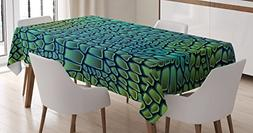 Ambesonne Abstract Tablecloth, Alligator Skin African Animal