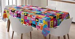 Ambesonne Abstract Tablecloth, Colored Alphabet Letters Patt