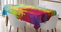 Ambesonne Abstract Tablecloth, Colorful Puzzle Pieces Fracta
