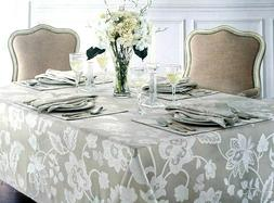 Waterford  Adelisa Floral Tablecloth Embroidered Metallic Cr