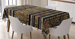 Ambesonne African Tablecloth, Traditional Hand Drawn African
