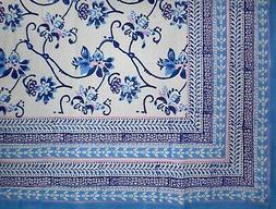 "Ajit Flowers  Block Print Cotton Tablecloth 90"" x 60"" Blue"