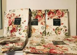Ralph Lauren Antibes Floral Red Cotton Tablecloth Napkins &
