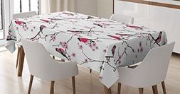 Ambesonne Asian Decor Tablecloth by, Bullfinches on the Saku