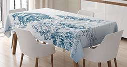 Ambesonne Asian Decor Tablecloth, Snowy Winter Landscape Pai