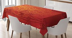 Ambesonne Asian Tablecloth, Eastern Ethnic Scenery with Bran