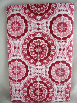 Assorted Sizes Deep Red & White Medallion Vinyl Tablecloth N