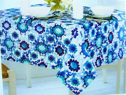 "Assorted Sizes ""Selena Medallion"" Blue & White Fabric Tablec"