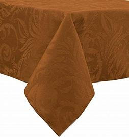 Autumn Scroll Damask Tablecloth in Bronze