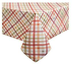 "Autumn Gingham Tablecloth 60"" X 144"" Oblong Fall Hallowe"