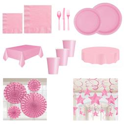 Baby Light Pink Party Catering Tableware Plates Cups Napkin