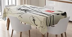 Ambesonne Japanese Tablecloth, Artistic Birds Fishes and Bam