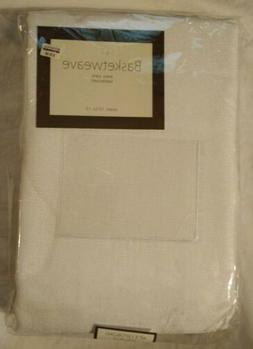 "Basketweave Easy Care Tablecloth 60""x120"" Oblong White Seats"
