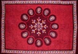 "Batik Tapestry Cotton Wall Hanging or Tablecloth 90"" x 60"" R"