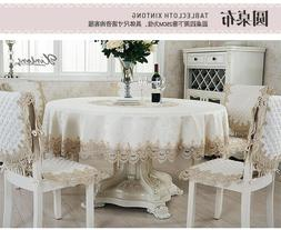 Beige/White Embroidered Lace Polyester Tablecloth 60 70 Inch
