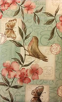Birds and Butterflies Among Flowers Flannel Backed Vinyl Tab