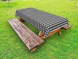 Black and Grey Outdoor Picnic Tablecloth in 3 Sizes Washable