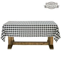 Black and White Checkered Tablecloth Polyester Picnic Table