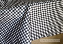 Black and White Plaid Tablecloth Gingham Check Table Linens