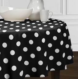 Black & White Round Large Polka Dot Tablecloth Dining Room K