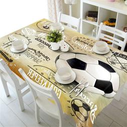 Black Football 3D Tablecloth Table cover Cloth Rectangle Wed