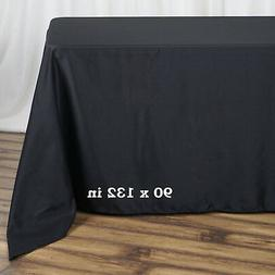 "BLACK Polyester 90x132"" Rectangle TABLECLOTHS Wedding Party"