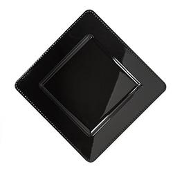 LinenTablecloth 13 in. Black Square Charger Plates 4/Pack