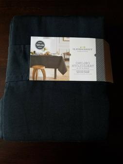 "THRESHOLD Black TABLECLOTH 60x104"" OBLONG Rectangle NWT FREE"