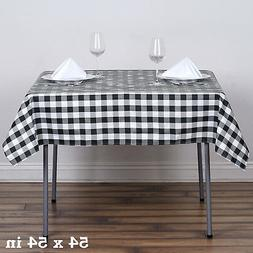 "Black White Checkered 54"" Square Polyester Tablecloth Picnic"