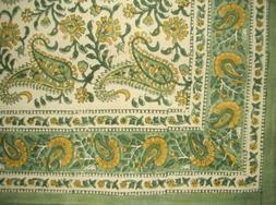 Homestead Block Print Rajasthan Paisley Cotton Tablecloth 90