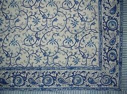 "Homestead Block Print Rajasthan Vine Cotton Tablecloth 90"" x"
