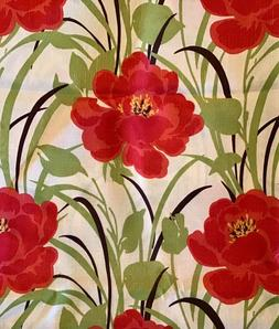 Benson Mills Bloom Red Green Floral Tablecloth Oblong 60""