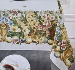 "Blooming Bunny Floral Robins Egg Tablecloth 60"" X 120"" O"