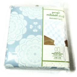 Blue & White Dario Medallion Burst Vinyl Tablecloth  60x84 O