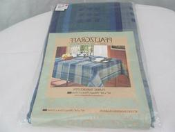 "Pfaltzgraff   Blue Green Plaid 60"" x 84"" Oblong Fabric  Cott"