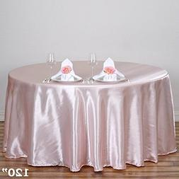 BalsaCircle 120-Inch Blush Round Satin Tablecloth Table Cove
