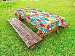 Boho Outdoor Picnic Tablecloth Kids Theme Colorful Petal Pri