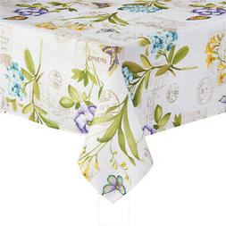 Botanical Blossom Square Tablecloth 52 x 52 Flowers Butterfl