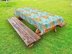 Botanical Outdoor Picnic Tablecloth Ambesonne in 3 Sizes Was
