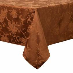 Bronze brown Fall Autumn Damask maple Leaf Tablecloth 60x84,