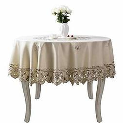 Brown flower embroidered lace dark white cream tablecloths f
