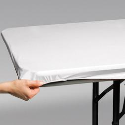 """Bulk White Stay Put 29"""" x 72"""" Tablecover, 12ct"""