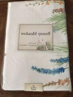 """Bunny Meadow Spillproof Tablecloth 70"""" Round Rabbits Garden"""