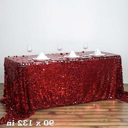 "Burgundy Rectangular 90x132"" Large Payette Sequin Tablecloth"