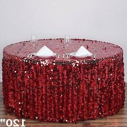 """BURGUNDY ROUND 120"""" Large Payette Sequin TABLECLOTH Wedding"""