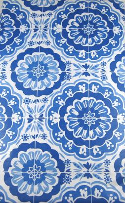 Bursting Medallions Flannel Back Vinyl Tablecloths Blue /Whi